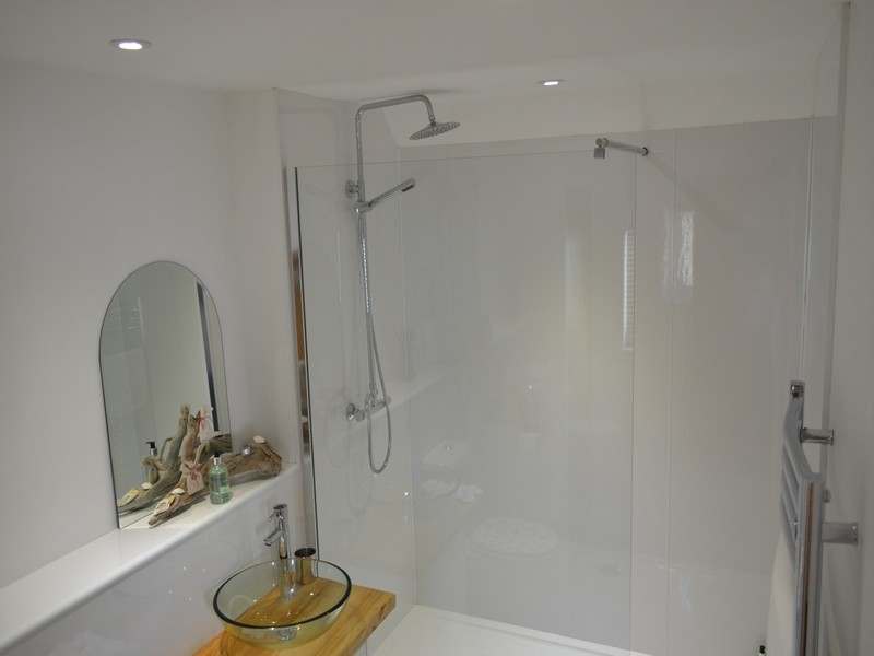 large shower room with walk in shower